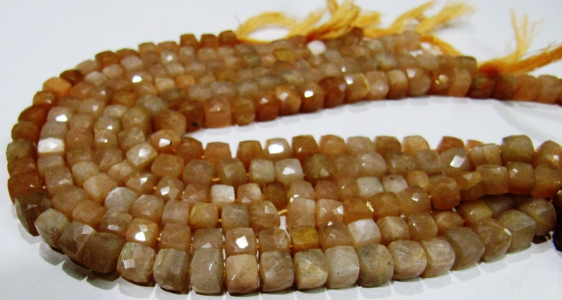 ON SALE Top Quality Moonstone 3D Box beads,Peach color Moonstone Faceted Cube Beads 6 to 7mm size,Superfine Cut and Polished Beads String 8i