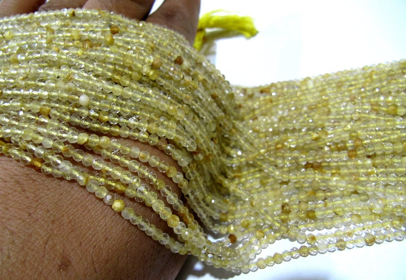 ON SALE Natural Golden Rutilated 2.5mm Rondelle Faceted Beads 13 Inches Long Semi Precious Golden Color Beads Top Quality Sold Per Strand