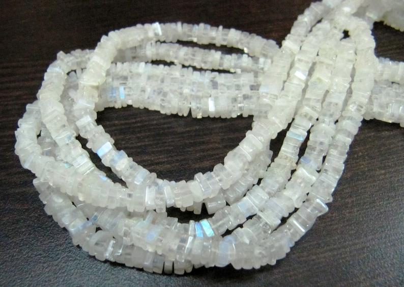 ON SALE Top Quality Natural Rainbow Moonstone Heishi Cut Beads  Blue Flashy White Moonstone 4-5mm Size Beads  Strand 14 long  Square Sha