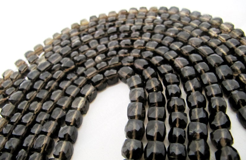 ON SALE AAA Quality Smoky Quartz 3D Cube Beads 6 to 8mm Size Faceted Box Shape Beads Length 8 inches long Cube Gemstone Beads Wholesale Pric