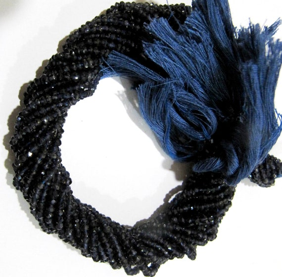 Natural Iolite Rondelle Faceted Beads 3-4mm  Strand 14 inches long