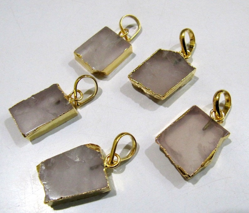 ON SALE 2 Pcs Set-Natural Rose Quartz Slice Pendant Free Form Connector Charm With 24K Gold Electroplated Edge Single Loop 1 inch approx