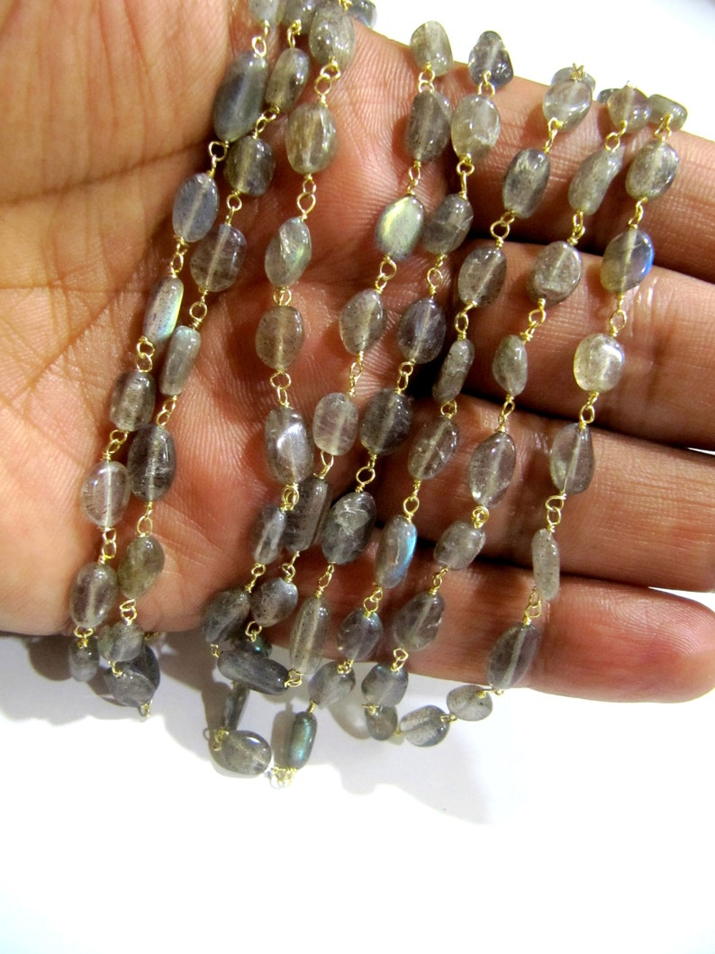 ON SALE 1 Foot Natural Labradorite Oval Shape Plain Smooth 6x8mm Approx Size Beaded Wire Wrapped Rosary Chain Wholesale Prices