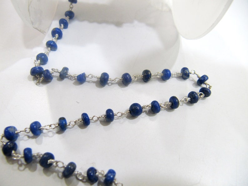 Jewelry Making Aati Chain Wholesa ON SALE 3 Ft-AAA Quality Lapis Lazuli Rosary Chain Smooth Rondelle Beads 4 to 5mm Beaded Chain Wire Wrap
