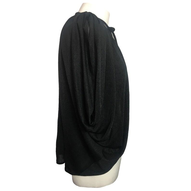 shoulder pads 80s90s, Vintage black jacket tie-neck draped shrug top