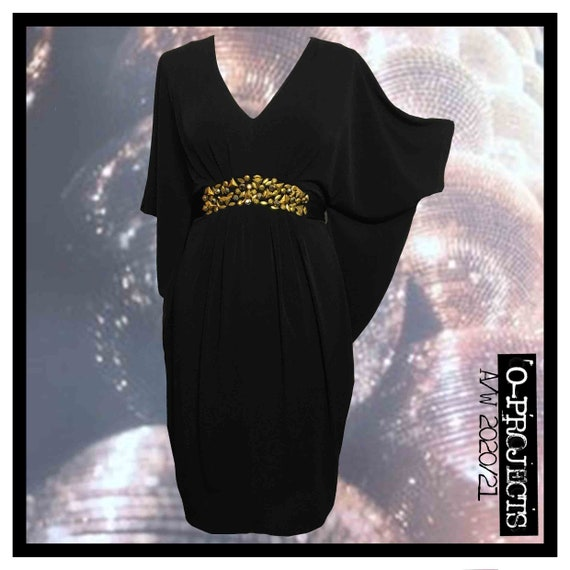 Biba, Black, V-neck, Drape, Embellished Dress, Siz