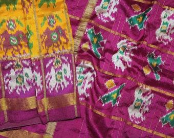 Ethnic Vintage Peach Saree Pure Patola Silk Printed Checked Sari Craft Fabric 5 Yard VPSP590