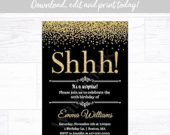 Black /& Gold Polaroid Birthday InvitationPrintable Birthday Invitation CardInstant Photo Surprise Birthday Party30th40th50th60th7080
