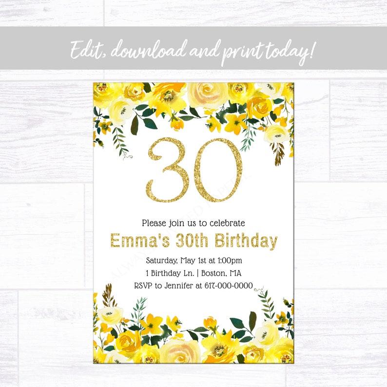 Yellow Birthday Invitation Adult Birthday Any Age Birthday Invitation Instant Download Printable Editable