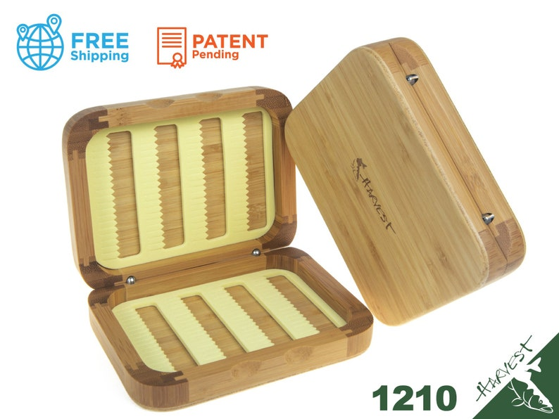Wooden Fly Fishing Box Bamboo Material Slit Foam Insert Small