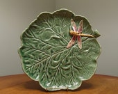 Bordallo Pinheiro Ceramic Portugal Green Leaf Shaped Dish with Raised Dragonfly Art Pottery 11 quot Platter