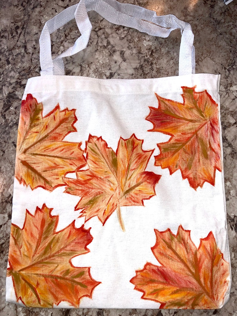 Beautiful Hand Painted Autumn Leaves on Canvas Tote