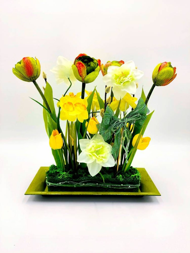 Artificial flower set in yellow spring artificial, decoration summer reusable table decoration easter white and green table decoration