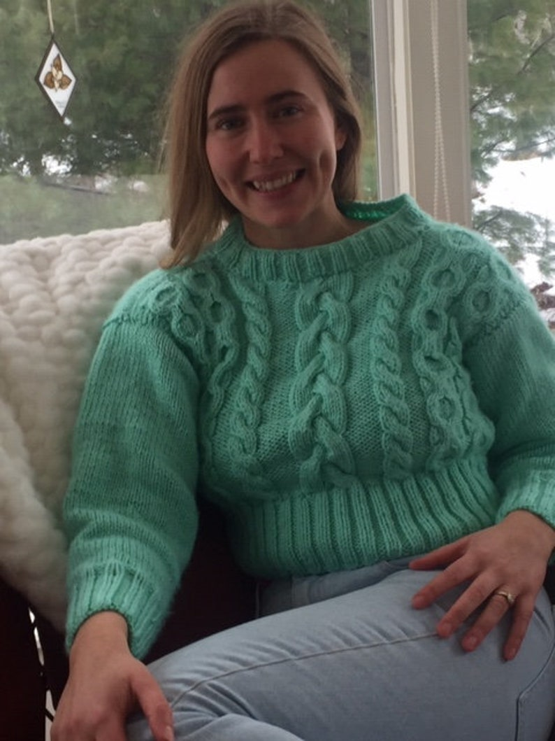 Knitted Women Short Jumper With Cables Knitted Crop Top In Mint Color Decorative Short Sweater