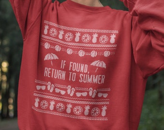 Return Summer CHRISTMAS SWEATER, Ugly Christmas Sweater Women, Ugly Christmas Sweater Men, Christmas Jumper Woman, Heading South, Cold, Snow