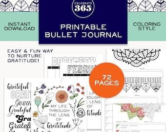 Bullet Gratitude Journal Printable Digital Download,Mandala Coloring Book for Adults,Bullet Journal,Digital Gratitude Journal Coloring Pages