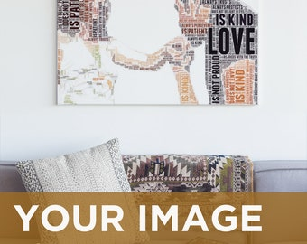 Custom Word Art Couple Portrait from Photo, 1 Corinthians 13 Text Art Personalized Gift, Oversized Master Bedroom Decor Digital Download