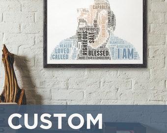 Positive Affirmation Custom Word Art Print, Christian Poster Oversized Wall Art Bedroom Decor, Personalized Baptism Gift Digital Download