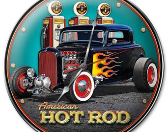 Racing Hot Rod Lighted Wall Art Sign Speed Shop Checkered Flag Neon Clock