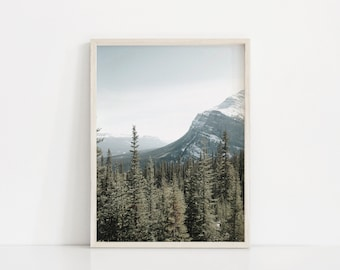 Blue Green Mountain Photography Art Print, Nordic Masculine Art, Man Cave Print, Wilderness, Pine Trees, Snow Covered Mountain, Montana