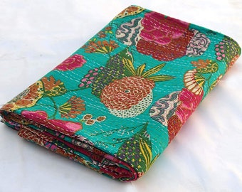 Vintage Green Floral Print Boho Kantha Throw Quilt Vintage Floral print Kantha Blanket Boho Kantha Quilt Boho Bedding Kantha