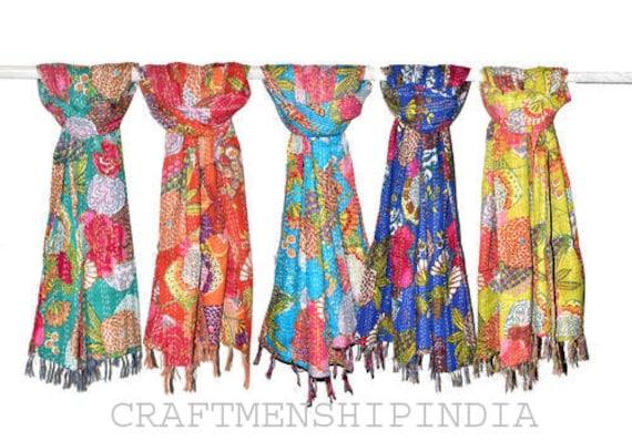 10 Wholesale Lot Vintage Kantha Silk Scarf Patchwork Stole Reversible Neck Wrap