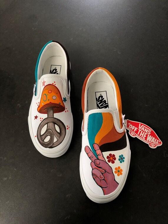 Hippie Vans Custom Handpainted Shoes   Etsy