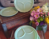 Set of Four Fire-King Jadeite Grill Plates Restaurant Ware Divided Plates w Thumb Tab Authentic Vintage