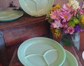 Set of Four Fire-King Jadeite Grill Plates Restaurant Ware Divided Plates Authentic Vintage