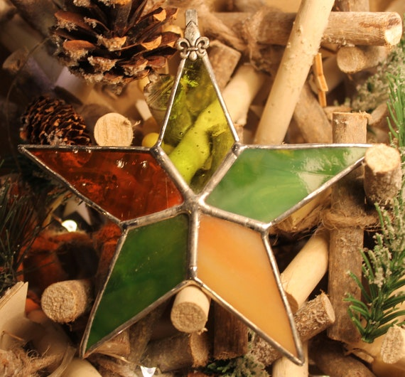 GREEN /& ORANGE CHRISTMAS STAR STAINED GLASS SUNCATCHER TREE DECORATION or GIFT