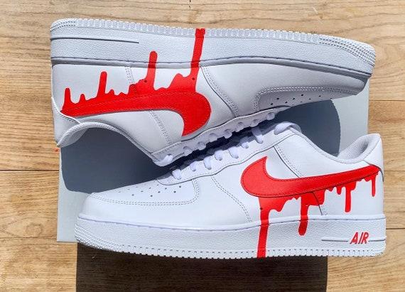 Nike Air Force 1 Blood Red Drip Custom Etsy