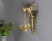 Parrot Design Wall Hanging Diya, Indian Decor Diya, Brass Oil Lamp, Hanging Diya for Home Decor