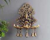 Panchdeep Ganesha Carving Hanging Brass Diya with Bells, Indian Decor Diya, Pooja Decor, Brass Oil Lamp, Handmade Lamp, Indian Homeware