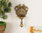 Ethnic Design Twin Peacock with Bell Brass Wall Hanging Diya, Home Decor, Decorations, Indian Art, Brass Oil Lamp