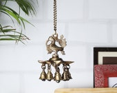 Peacock Design Brass Hanging Diya with Bells by Two Moustaches, Indian Handicraft Diya, Handmade Lamp (Chain Length 80 cms)