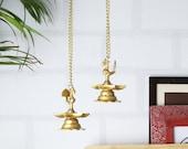 Brass Peacock Hanging Diya Set, Brass Indian Diya Lamp, Brass Decorative Diya Pair