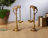 Parrot Design Diya 7.5 Inches Brass Hanging Oil Wick Diya Pair (Pack of 2), Oil Diya Lamp, Handmade Lamp, Parrot Brass Diya for Home Temple