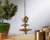 Handmade Peacock Design 4 Oil Wick Brass Hanging Diya, Temple Decor, Home Decor Oil Diya Lamp, Indian Handicraft Diya, Handmade Lamp