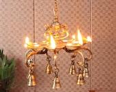 Twin Peacock Over 7 Oil Wick Brass Hanging Diya with Bells, Indian Decor Diya, Pooja Decor, Brass Oil Lamp, Handmade Lamp, Indian Homeware
