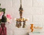 Deep Lakshmi Design 10 Oil Wick Brass Hanging Diya, Chain Length 16 Inches, Oil Diya Lamp, Indian Decor Diya for Home Decor