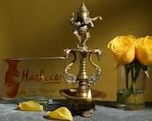 Dancing Ganesha Brass Oil Diya with Base, Home Decor, Brass Oil Diya Lamp, Handmade Lamp, Indian Decor Diya, Indian Homeware