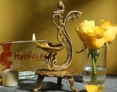 Brass Curved Peacock Design Diya, Indian Decor Diya, Brass Oil Lamp, Diya for Home Decor