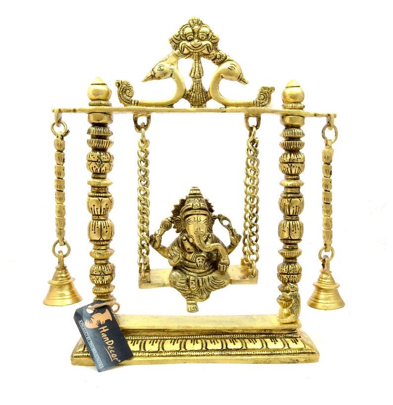 Showpieces for Home Decor Ganesha on Jhoola Swing with Bells Brass Showpiece Indian Decor Art Indian Art Showpieces