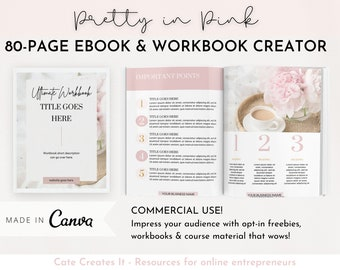 Canva ebook template, editable workbook template. Lead Magnet, course creator, Opt In Coaches, Bloggers, Course Creators, Virtual Assistant,