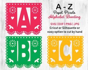 papel picado svg papel picado alphabet, papel picado template, papel picado letters, mexican bunting, printable bunting, cupcake topper