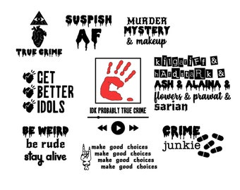 True Crime Fan Decal Bundle MFM, Crime Junkie & Bailey Sarian themed