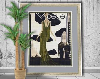 Handmade Autumn Lady with Coat Vintage French Vogue Inspired Cross Stitch Frame Vogue Cover Stitch Cross