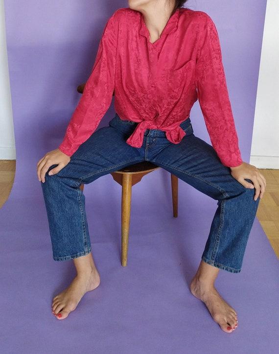 Vintage red 100% silk floral jacquard 80's blouse