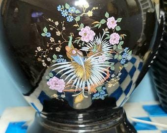 Ginger Jar Lamp, Oriental, Peacock, Floral, Black Glaze, Accent Lamp, Table Lamp, Home Decor, Lighting,