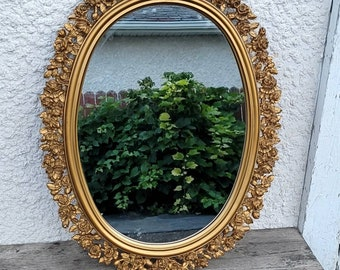Vintage Wall Mirror, Gold Mirror, Ornate Rose Border, Oval Mirror, Wall Decor, Home Decor, Molded Resin, Rose Mirror,